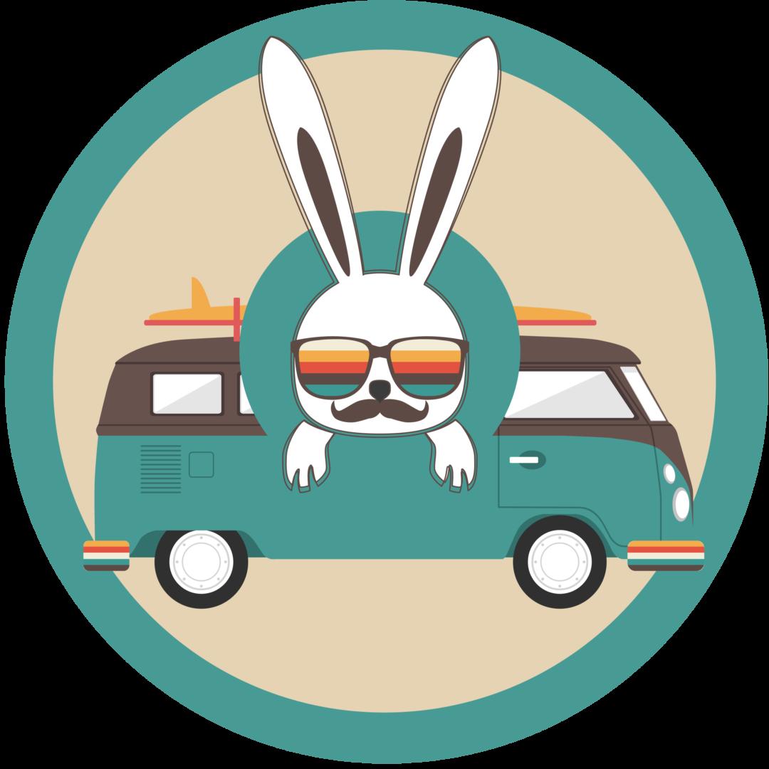 White Rabbit logo e copertina vintage furgone camper volkswagen t1 Social media grafiche grafica immagine profilo copertina social network facebook instagram canale youtube